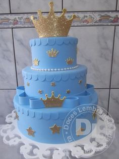 Baby blue and gold Royla Prince baby shower cake Baby Cakes, Baby Shower Cakes, Royal Baby Shower Theme, Royal Baby Showers, Baby Birthday Cakes, Baby Boy 1st Birthday, Baby Shower Parties, Mini Diaper Cakes, Prince Cake