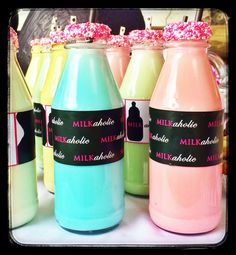 Milk at a Milkaholic baby shower! Candy Buffet, Baby Ideas, Bakery, Milk, Baby Shower, Angel, Desserts, Babyshower, Tailgate Desserts