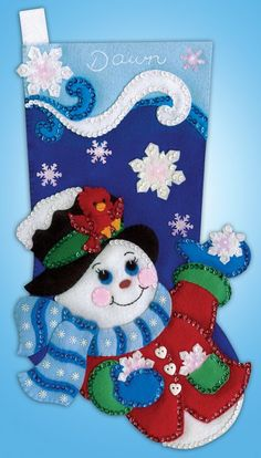 This Felt Applique Kit Includes: Acrylic Felt, Cotton Embroidery Floss, Stocking Merry Stockings, Felt Christmas Stockings, Felt Stocking, Christmas Ornaments To Make, Christmas Snowman, Christmas Crafts, Diy Crafts For Gifts, Felt Crafts, Felt Tree