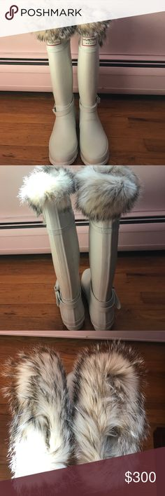NEVER WORN! Hunter for j Mendel boots NEVER WORN! Hunter for J Mendel boots. White. Real fur trim around top of boot, which is not removable.  Size 8. White boot, has a few dirt stains that can be cleaned, never worn Hunter Shoes Winter & Rain Boots