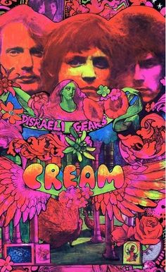 Poster by Martin Sharp, ca Disraeli Gears for the second album by the English rock band Cream printed in DayGlo fluorescent inks. Rock And Roll, Pop Rock, Psychedelic Rock, Psychedelic Posters, Vintage Concert Posters, Vintage Posters, Music Posters, Retro Posters, Vintage Rock