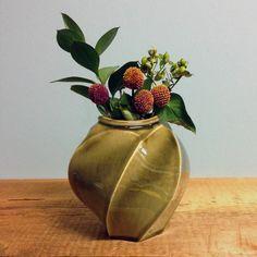 Oval Olive Green Vase