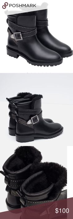 Zara REAL Leather Biker Studded Winter Ankle Boots Zara REAL Leather Biker Studded Winter Ankle Boots with Straps!Flat ankle boots in black leather. Metallic detail on the crossover strap. Fasten with a buckled strap on the side. Faux fur lining. Heel height of 1.37 inches or 3,5 cm.  100% cow leather Zara Shoes