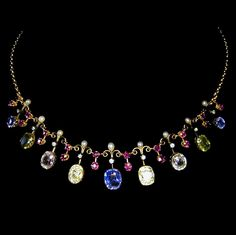 A LATE VICTORIAN VARI-COLOURED SAPPHIRE FRINGE NECKLACE