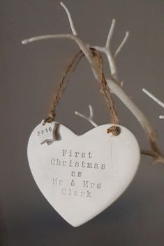 Handmade clay bauble, keepsake decoration First Christmas Married, Personalised Christmas Decorations, Christmas Crafts, Christmas Ornaments, Clay Ornaments, Air Dry Clay, Bauble, Clay Projects, Tree Decorations