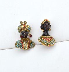 RARE Vintage Signed CORO Blackamoor Prince and Princess Pins, Turquoise Pearls