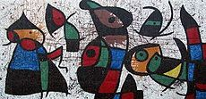 Personnage Oiseaux is one of Joan Miró's largest works in the United States and his only glass mosaic mural