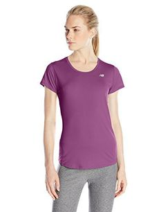New Balance Women's Accelerate Short Sleeve Tee, Imperial Purple/Deep Orchid, Small - http://www.exercisejoy.com/new-balance-womens-accelerate-short-sleeve-tee-imperial-purpledeep-orchid-small/athletic-clothing/