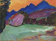 Roter Abend - Blaue Berge by Alexej von Jawlensky