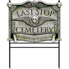 Turn your yard into a cemetery with the Amscan Halloween Cemetery Sign Stake. The unique design adds a spooky feel to any holiday party.  Durable plastic design.  Stake included for secure positioning.  Suitable for indoor and outdoor use. Halloween Tombstones, Halloween Banner, Halloween Fabric, Halloween Crafts, Halloween Decorations, Halloween Party, Halloween Ideas, Outdoor Decorations, Halloween Signs