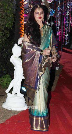 2 Feb, Rekha in Silk Saree with gold jewellery (incl maang tikka on forehead) at Wedding Reception of Hema & Dharmendra's daughter Ahana & Vaibhav Vora via Indian Beauty Saree, Pure Silk Sarees, Rekha Saree, Banarsi Saree, Sabyasachi, Handloom Saree, Lehenga Choli, Punjabi Wedding, Crowns