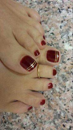 39 Ideas For Pedicure Designs Maroon Toe Nails 39 Ideas For Pedicure Designs Maroon Toe Nails - Nail Designs Pretty Toe Nails, Cute Toe Nails, Pointy Nails, My Nails, Gold Toe Nails, Red And Gold Nails, Gold Nail Art, Red Gold, Long Nails