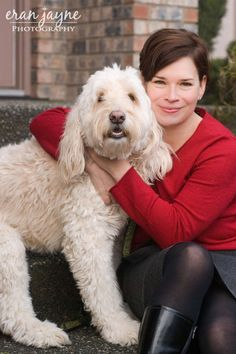 headshot photography, photos with pets, labrodoodle