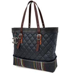 Auth-CHANEL-Tote-Shoulder-Bag-Matelasse-Coco-Logo-A67794-Navy-Black-GR-1719130