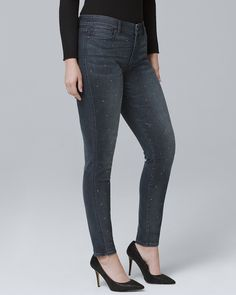 61595cb0d9 Women s Curvy Fit Mid-Rise Stud-Detail Skinny Ankle Jeans by White House  Black Market