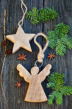 Wooden Christmas decorations. More