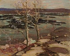 "Tom Thomson ""The Breaking of the Ice"", 1916 Group Of Seven Artists, Group Of Seven Paintings, Canadian Painters, Canadian Artists, Emily Carr Paintings, Tom Thomson Paintings, Canada Images, Famous Artists, Landscape Art"