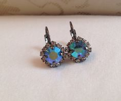 Vintage Aquamarine AB Halo Drop Earrings (8mm) by emilytrends on Etsy (sabika inspired)