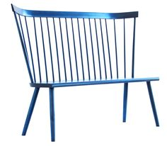 navy. Shaker. but modern. Part of the Colt line, the Colt Settee takes stylistic cues from both Scandinavian and shaker designs. The scale and comfort make the Colt Settee a perfect selection for a kitchen, mudroom or even a dining room. It is available with or without arms, in all stains or standard painted finishes.