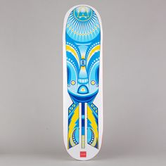 Abstract skateboard design. Pretty interesting, but the colors give off more of a surfer's appearance than a skateboarder's. The bright blues, yellow, and white create a very fresh look.