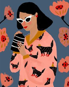 Illustration of woman with animal pattern and flowers. Lovely colour palette: pink, red, black, and mustard on a blue background.
