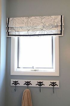 easy fake roman shade tutorial, crafts, reupholster, window treatments, Roman shade in the bathroom