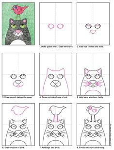 Bird on a Cat · Art Projects for Kids School Art Projects, Projects For Kids, Drawing Lessons, Art Lessons, Drawing Skills, Drawing For Kids, Art For Kids, Cat Drawing, 3rd Grade Art