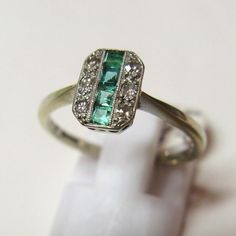 Vintage 1930's Art Deco 18ct Gold and Platinum Emerald and Diamond Ring – Jewellery