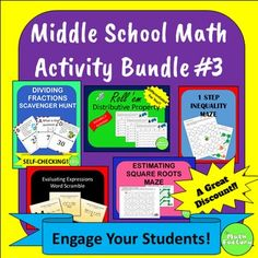 Middle School Math Activity Bundle #3 is a collection of 5 math activities intended for use in the middle grades.  Add some fun and excitement to your classroom with these engaging activities.  At this price, it's like getting one product for free!The activities include: 1) Distributive Property Dice Activities:  Hands-on, fun learning with the distributive property!