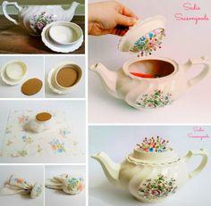 Teapot Sewing Caddy with hidden Pincushion
