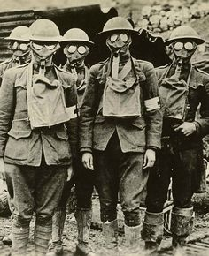 American soldiers of the 42nd Division with gas masks. Essey, France, 1918.