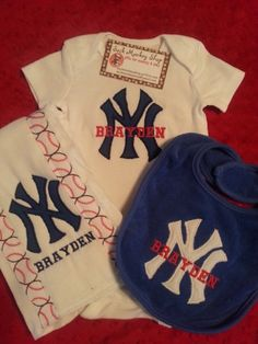 Personalized onesie bib and burp cloth by seamlessnights on etsy new york yankees bib burp cloth and onesie set gifts setsbaby gift sets personalized negle Choice Image