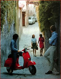 italian Vespa 50 advertising image from the mid 1960's