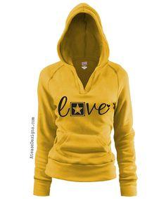 Military ARMY Love pullover Vneck hoodie.veteran by AtEaseDesigns