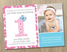 Baby Girl First (1st) Birthday Photo Invitation - Flowers and Butterfly Pink Purple Blue - Custom Printable Digital File. $15.00, via Etsy.