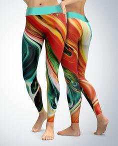 Orange and Teal Abstract Leggings   Womens Leggings   Capri Leggings   Yoga Pants   Tights   Stretch Pants   Gym Gear   Yoga Gear   XS-5X by VoodooAthletic on Etsy https://www.etsy.com/listing/572668621/orange-and-teal-abstract-leggings-womens