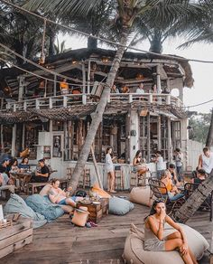 Two things prevent us from happiness; living in the past and observing others. Outdoor Restaurant Patio, Restaurant Bar, Beach Restaurant Design, Bar Design, Lounge Design, Surf House, Beach Bars, Island Resort, Bali Travel