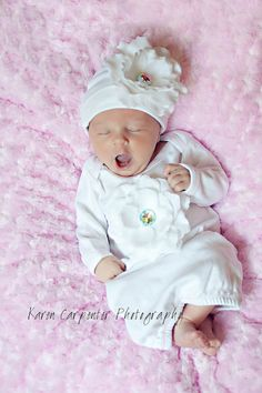 White Flower Gown Take Home Outfit for Newborn Girl on Etsy, $44.00- Home From Hospital Outfit(: