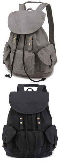 2f1b81ef13cd Leisure Vintage High School Bag Three Pockets Student Travel Canvas Backpack