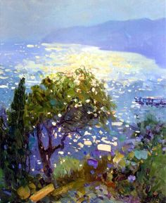 Beautiful play of light sparkling on the water. Seascape Paintings, Landscape Paintings, Watercolor Paintings, Painting Art, Watercolor Landscape, Abstract Landscape, Contemporary Landscape, Beautiful Paintings, Paintings I Love