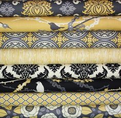 Gorgeous gray and yellow fabric on Etsy