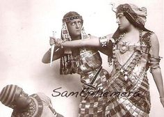 EGYPTIAN REVIVAL Antique Real Photo Postcard Fantastic Costumes Snake Jewelry & Peacock Headpieces