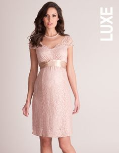 Blush Lace Maternity Cocktail Dress | Silk, Level and Pink lace