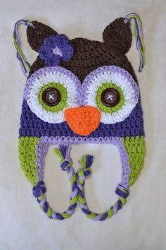 owl hat, crochet owl hat, crochet kids hat, crochet baby hat, custom colors. $25.00, via Etsy.