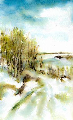 Early Winter by Cuiava Laurentiu Winter Painting, Greeting Cards, Wall Art, Winter Drawings, Wall Decor