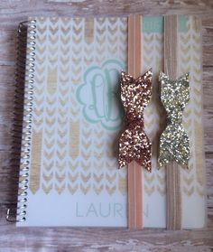 Planner band with rose gold or silver gold glitter bows, planner accessory for Plum Paper , Erin Condren , The Happy Planner by LollieShops on Etsy https://www.etsy.com/listing/262542088/planner-band-with-rose-gold-or-silver