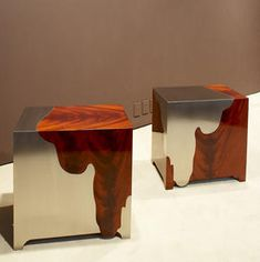 work by Maria Pergay... my observation: I like this idea of using other materials to complete the whole. -
