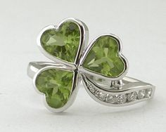 Celtic: Lovely platinum, peridot, and diamond shamrock ring.