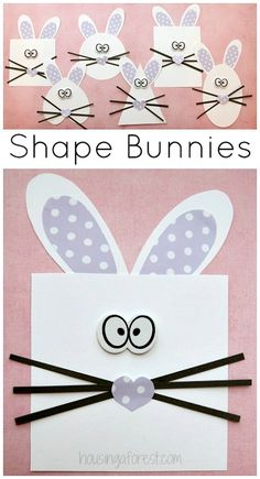 Shape Bunny Craft - Housing a Forest Shape Bunny Craft ~ Easter activity for preschoolers Want great helpful hints about arts and crafts? Easter Projects, Easter Crafts For Kids, Toddler Crafts, Easter Ideas, Art Projects, Easter Activities, Spring Activities, Classroom Crafts, Preschool Crafts