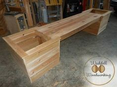 Cedar Bench With Two Attached Planter Boxes!   Each Cedar Bench With Planter Boxes is made with Western Red Cedar, Cedar 2 x 4s and secured with polymer-plated screws, staples and wood glue.   Ben